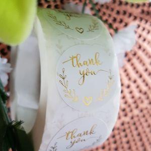 500 pcs White Gold Foil Thank You Stickers
